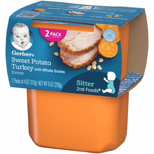 Gerber 2nd Foods Sweet Potato Turkey with Whole Grains Dinner Baby Food Perspective: right