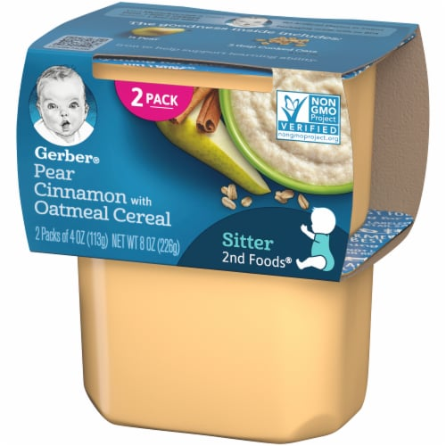 Gerber 2nd Foods Pear Cinnamon with Oatmeal Cereal Stage 2 Baby Food Perspective: right