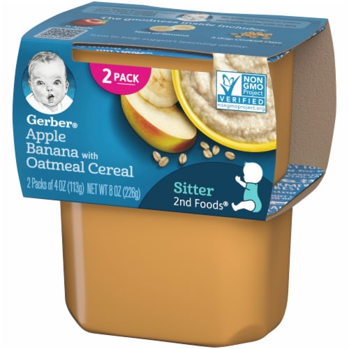 Gerber 2nd Foods Apple Banana with Oatmeal Cereal Stage 2 Baby Food Perspective: right