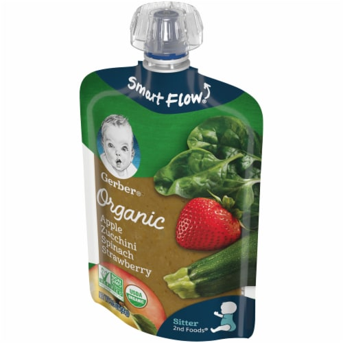 Gerber Organic Apple Zucchini Spinach & Strawberry Pouch Perspective: right