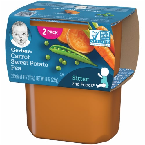 Gerber® 2nd Foods® Carrot Sweet Potato Pea Stage 2 Baby Food Perspective: right