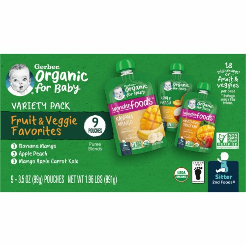 Gerber 2nd Foods Organic Variety Pack Stage 2 Baby Food Perspective: right