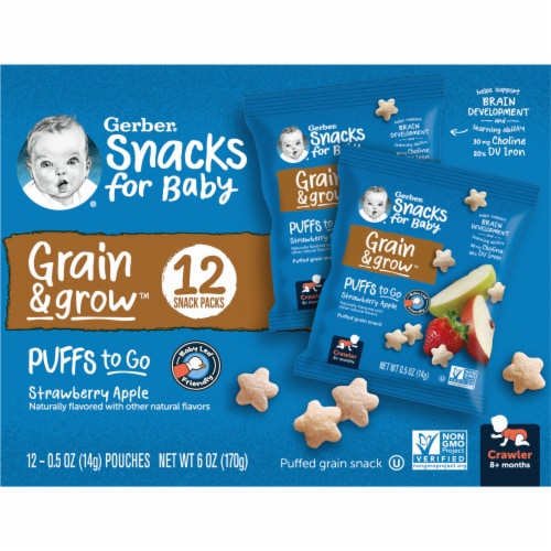 Gerber Puffs to Go Crawler Strawberry Apple Perspective: right