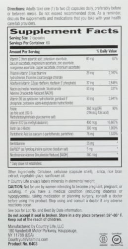 Country Life Advanced Coenzyme B-Complex Vegetarian Capsules 120 Count Perspective: right