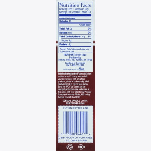 C&H Dark Brown Pure Cane Sugar Perspective: right