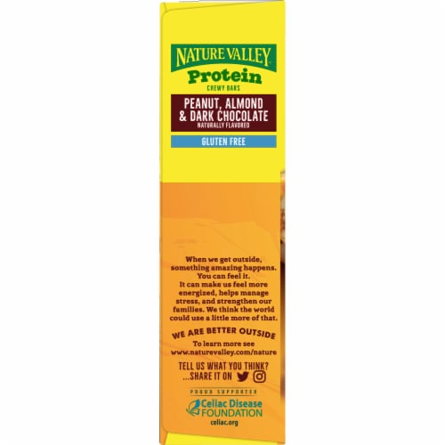 Nature Valley Peanut Almond & Dark Chocolate Protein Chewy Bars 5 Count Perspective: right