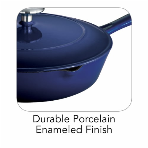 Tramontina Gourmet Covered Cast Iron Skillet - Gradated Cobalt Perspective: right