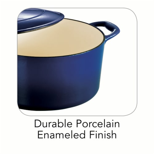 Tramontina Covered Round Dutch Oven - Blue Perspective: right