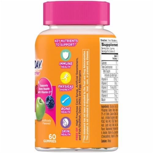 One A Day Teen Gummies for Her Vitacrave Multivitamin Gummies Perspective: right