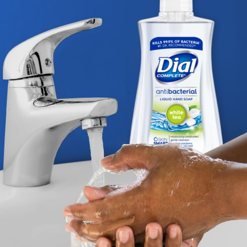 Dial Complete® White Tea Antibacterial Liquid Hand Soap Perspective: right