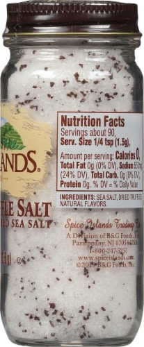 Spice Islands Black Truffle Salt Naturally Flavored Sea Salt Shaker Perspective: right
