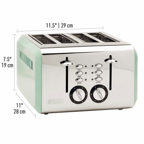 Haden Cotswold 4-Slice Wide Slot Toaster - Sage Green Perspective: right