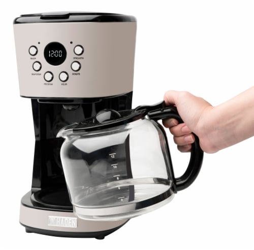 Haden Dorset Modern Programmable Coffee Maker - Putty Perspective: right