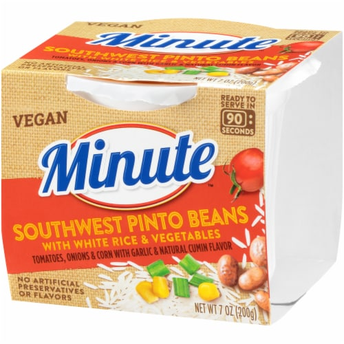 Minute Southwest Pinto Beans with White Rice & Vegetables Perspective: right