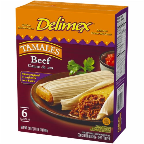 Delimex Beef Tamales Frozen Appetizer 6 Count Perspective: right