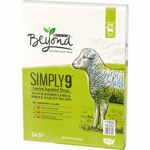 Beyond Simply 9 Ranch-Raised Lamb & Whole Barley Recipe Adult Dry Dog Food Perspective: right