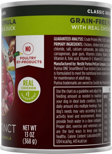 Purina ONE SmartBlend True Instinct Classic Ground Chicken & Duck Adult Dog Food Perspective: right