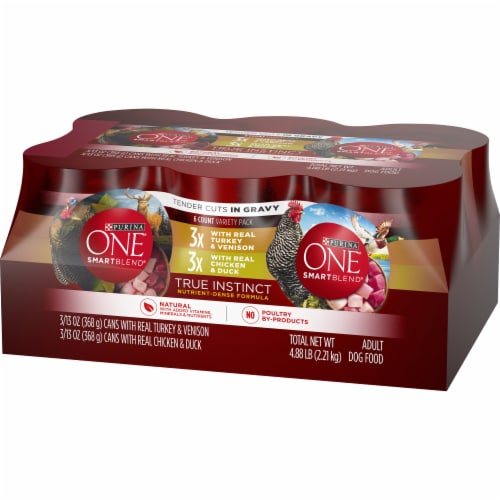 Purina ONE SmartBlend True Instinct Tender Cuts Natural Gravy Wet Dog Food Variety Pack Perspective: right