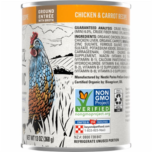 Purina Beyond Organic Chicken & Carrot Wet Dog Food Perspective: right