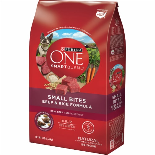 Purina ONE SmartBlend Small Bites Beef & Rice Formula Dry Dog Food Perspective: right