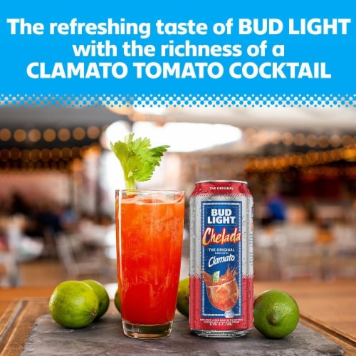 Bud Light Chelada with Clamato Lager Beer Perspective: right