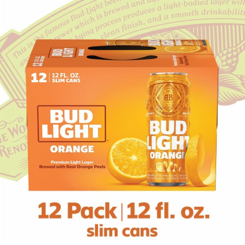 Bud Light Orange Lager Beer Perspective: right