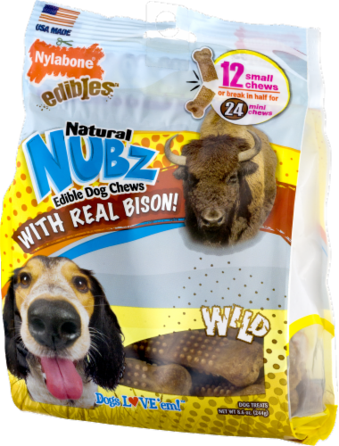 Nylabone Edibles Natural Nubz Wild Bison Flavor Small Chew Dog Treats Perspective: right