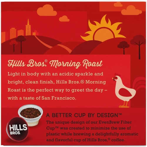 Hills Bros Single Serve Coffee Pods,Morning Roast, Light Roast Coffee, 12 Count - For Keurig Perspective: right