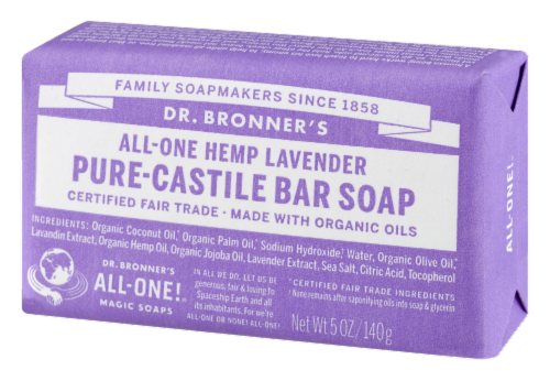 Dr. Bronner's All-One Hemp Lavender Pure-Castile Bar Soap Perspective: right