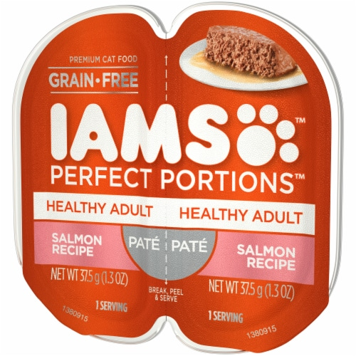 IAMS Perfect Portions Grain Free Pate Salmon Recipe Adult Wet Cat Food Twin Pack Perspective: right