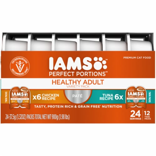 IAMS Perfect Portions Grain Free Chicken and Tuna Pate Twin Packs Adult Wet Cat Food Variety Pack Perspective: right