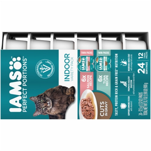 IAMS Perfect Portions Salmon Recipe & Tuna Recipe Indoor Wet Cat Food Perspective: right