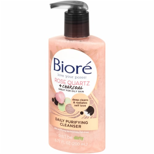 Biore Rose Quartz + Charcoal Daily Purifying Cleanser Perspective: right