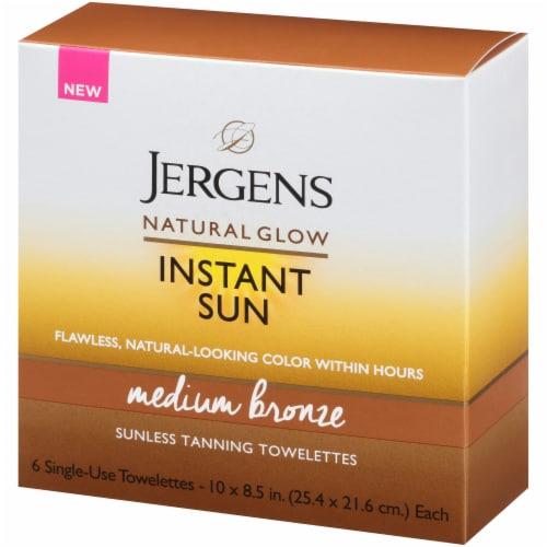 Jergens Natural Glow Instant Sun Medium Bronze Suness Tanning Towelettes Perspective: right