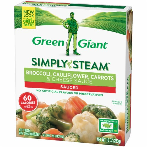 Green Giant Steamers Broccoli Cauliflower Carrots & Cheese Sauce Perspective: right