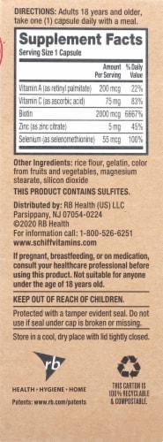 Schiff Biotin + Vitamin C Hair Skin & Nails Support Capsules Perspective: right