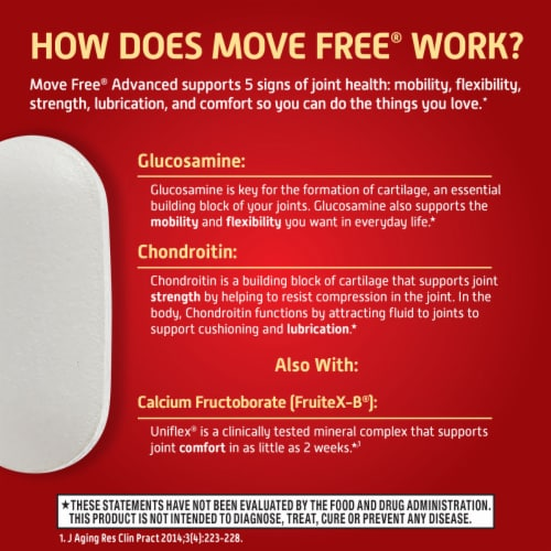 Move Free Advanced Plus MSM and Vitamin D3 Joint Health Supplement Tablets Perspective: right