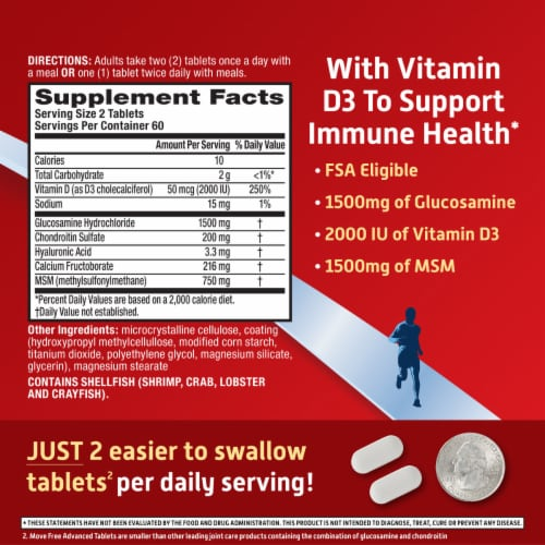 Schiff® Move Free® Advanced + MSM & D3 Joint Health Tablets Perspective: right