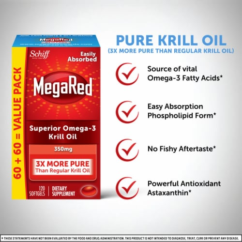 Schiff MegaRed Superior Omega-3 Krill Oil Dietary Supplement Softgels 350mg Perspective: right