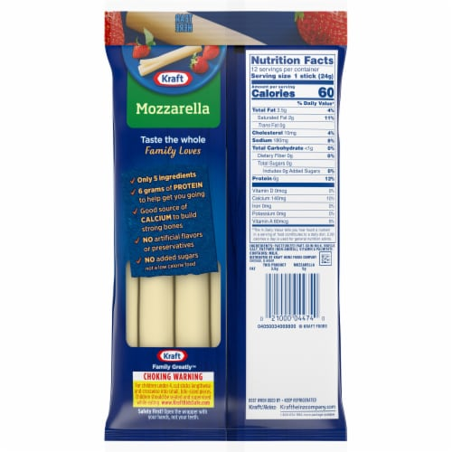 Kraft Reduced Fat Mozzarella String Cheese Sticks 12 Count Perspective: right