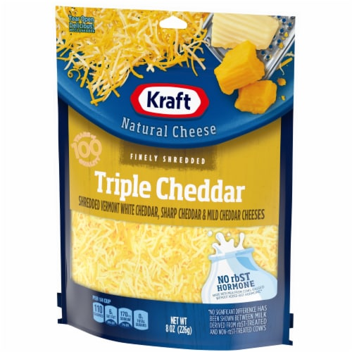 Kraft Finely Shredded Triple Cheddar Cheese Perspective: right
