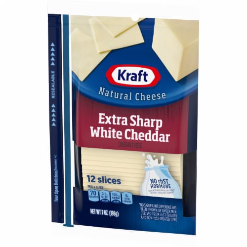 Kraft Extra Sharp White Cheddar Cheese Slices Perspective: right