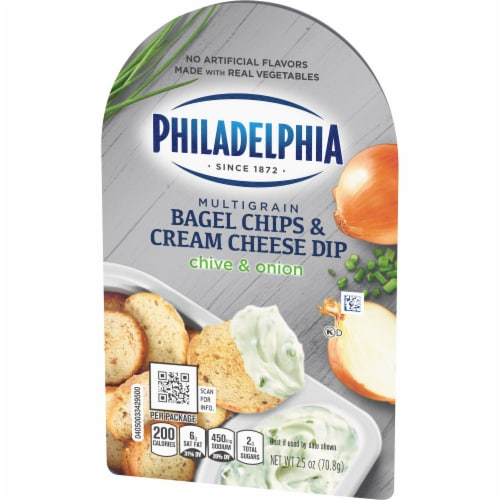 Philadelphia Bagel Chips and Chive & Onion Cream Cheese Dip Perspective: right