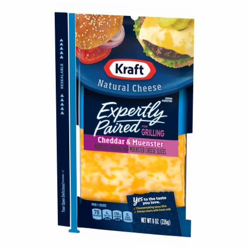 Kraft Expertly Paired Cheddar & Muenster Cheese Slices Perspective: right