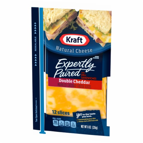 Kraft Expertly Paired Double Cheddar Cheese Slices Perspective: right