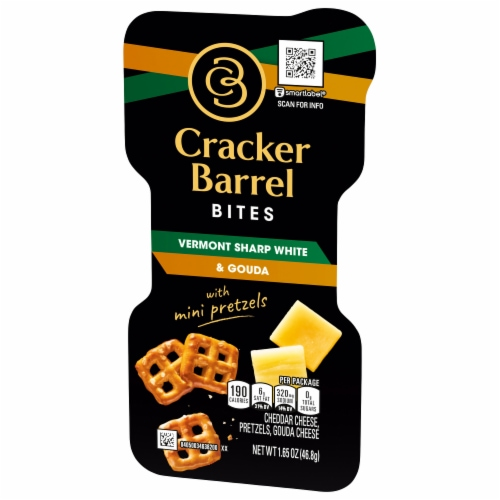 Cracker Barrel Vermont Sharp White and Gouda Bites with Mini Pretzels Perspective: right