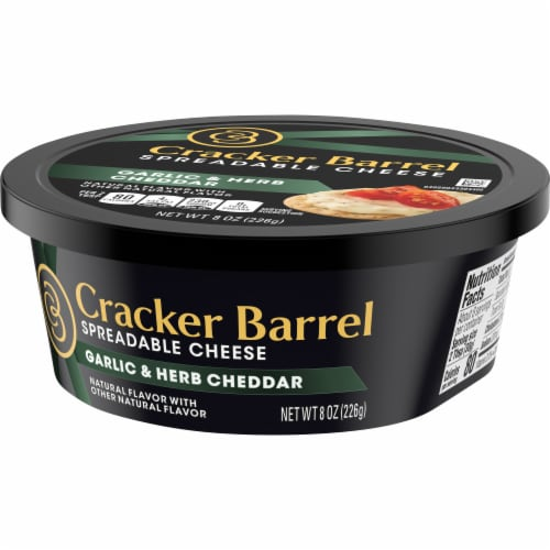 Cracker Barrel Garlic & Herb Cheddar Spreadable Cheese Perspective: right