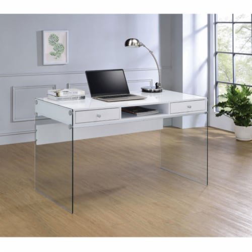 Coaster Dobrev Modern 2 Drawer Writing Desk in Glossy White Perspective: right