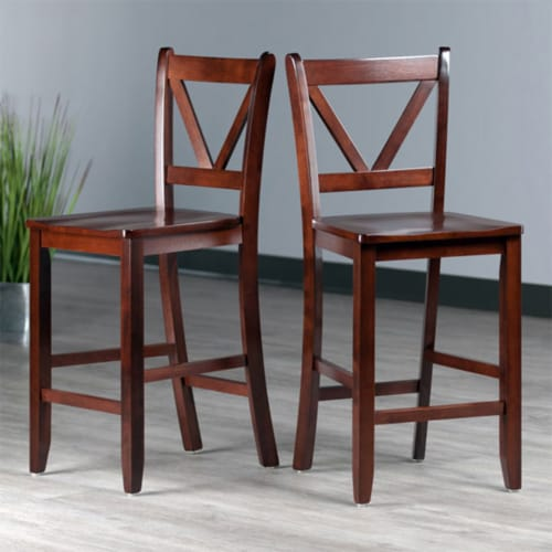 Winsome Victor 24 Inch Tall Solid Wood Counter Bar Stool Set, 2 Piece, Brown Perspective: right