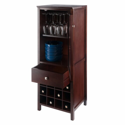 Winsome Brooke Wooden Wine Rack Jelly Cupboard in Walnut Perspective: right